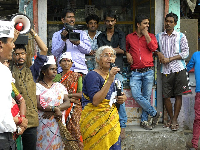 Medha Patkar on the campaign trail.