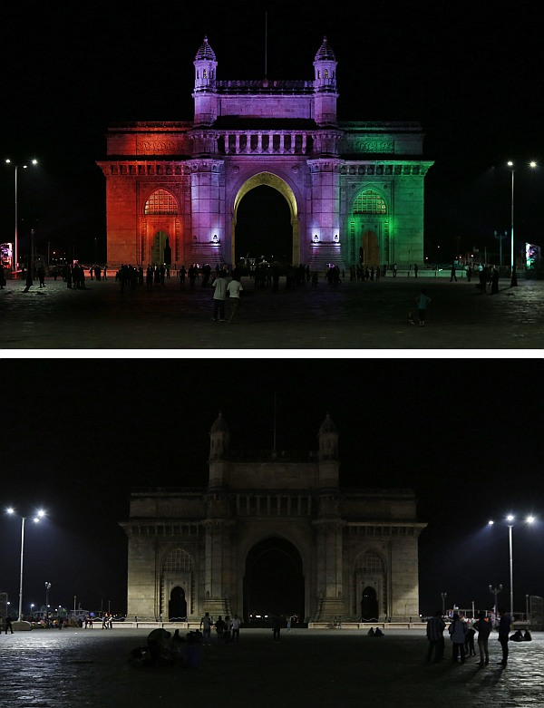 A combination picture shows the Gateway of India monument after (top) and during Earth Hour in Mumbai