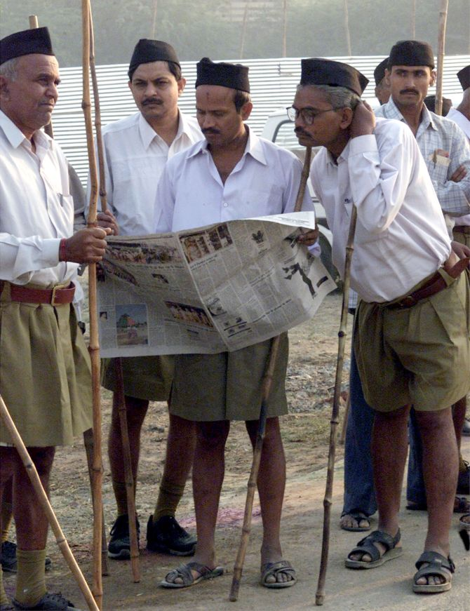 Volunteers of the Rashtriya Swayamsevak Sangh at Shastri Puram, near Agra.