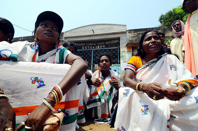 TMC supporters in Bankura wait for Moon Moon and her beautiful daughters.