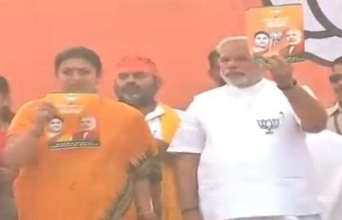 Modi campaigned for Smriti Irani, who is facing off against Rahul Gandhi.