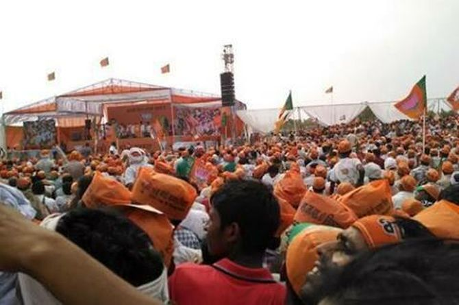 Modi supporters came out in large numbers and listened as he spoke for more than an hour.