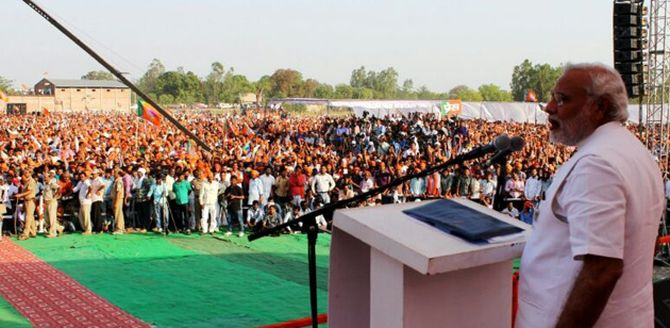 BJP's Narendra Modi arrived at Amethi amid much cheering and chants.