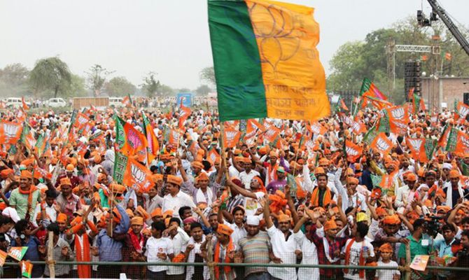 Thousands of people gathered to watch the BJP leader and chanted his name during the speech.