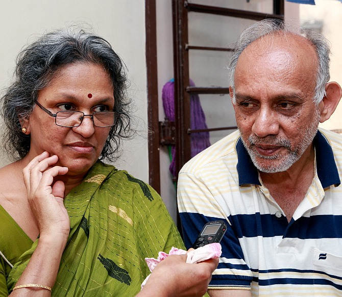 Major Mukund Varadarajan's parents Geetha and Varadarajan at their home in Tambaram, Chennai
