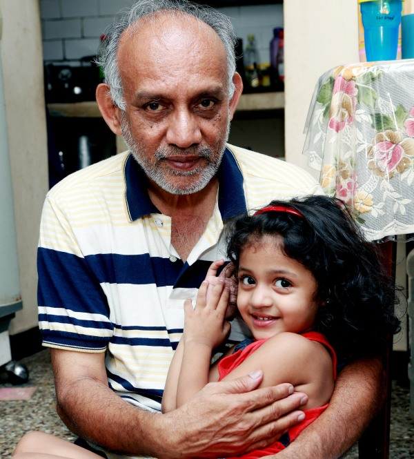 Major Mukund Varadarajan's father with his granddaughter Arsheya.