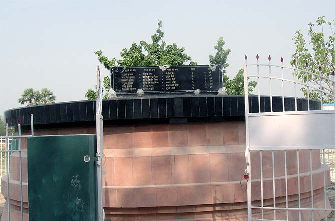 The memorial to the 23 children who died in the midday meal tragedy built by the Bihar government.