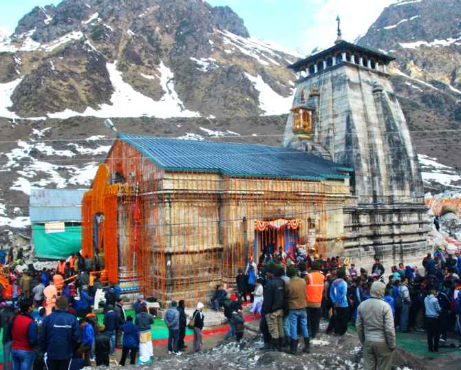 Devotees flock to the Kedarnath temple on the opening day of its reopening on Sunday