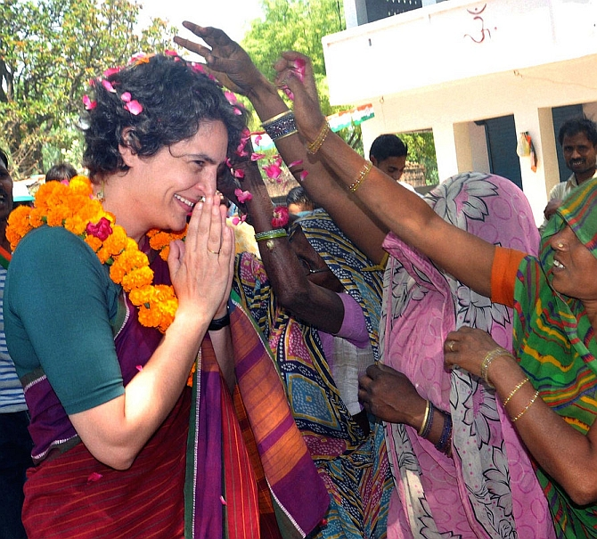 Priyanka Gandhi interacts with villagers in UP