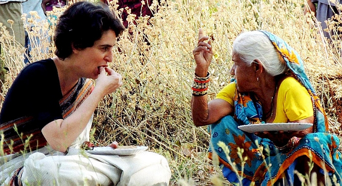 Priyanka Gandhi shares a meal with a local from Rae Bareli