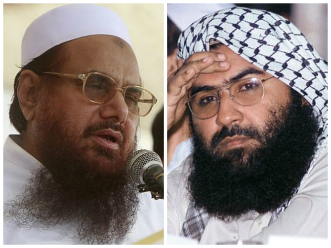 Lashkar-e-Tayiba chief Mohammad Saeed, left, and Jaish-e-Mohammed founder Maulana Masood Masood Azhar.