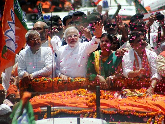 Narendra Modi during the road show before filing his nomination in Varanasi.