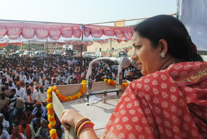 The BJP's Smriti Irani addresses a rally at Musafirkhana in Amethi.