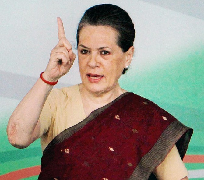 Congress Sonia Gandhi addresses an election rally.
