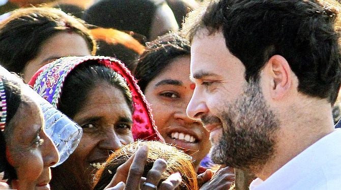 Rahul Gandhi interacts with women voters.