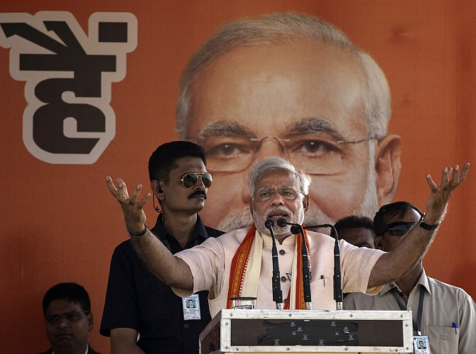 BJP leader Narendra Modi at a rally in Rohaniya, near Varanasi.