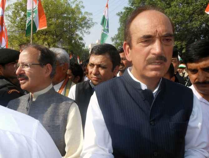 Congress leaders Ghulam Nabi Azad and Rashid Kidwai seen at the roadshow on Saturday