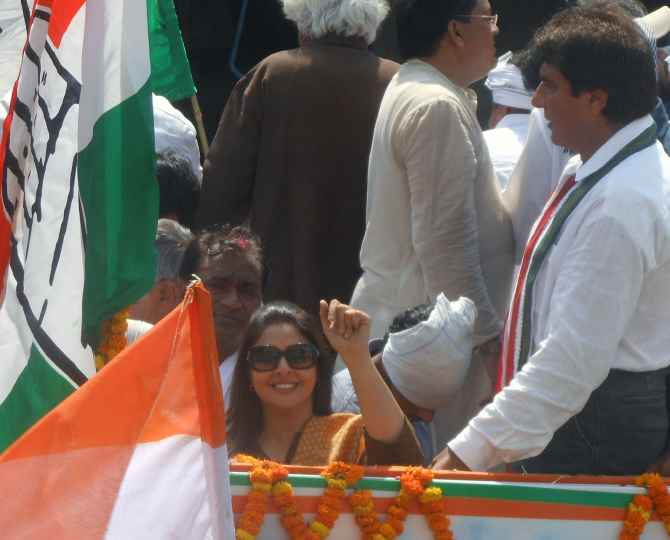 Congress candidates Nagma and Raj Babbar also spotted at the roadshow