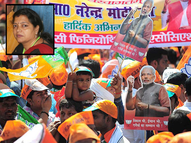 Supporters wave BJP flags in Varanasi. Inset: Dr Babita Tiwari.