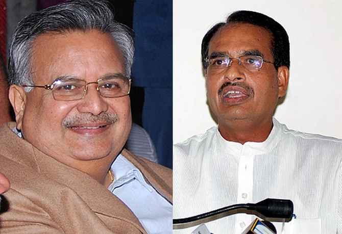 Chhattisgarh CM Raman Singh and Mahdya Pradesh CM Shivraj Singh Chouhan