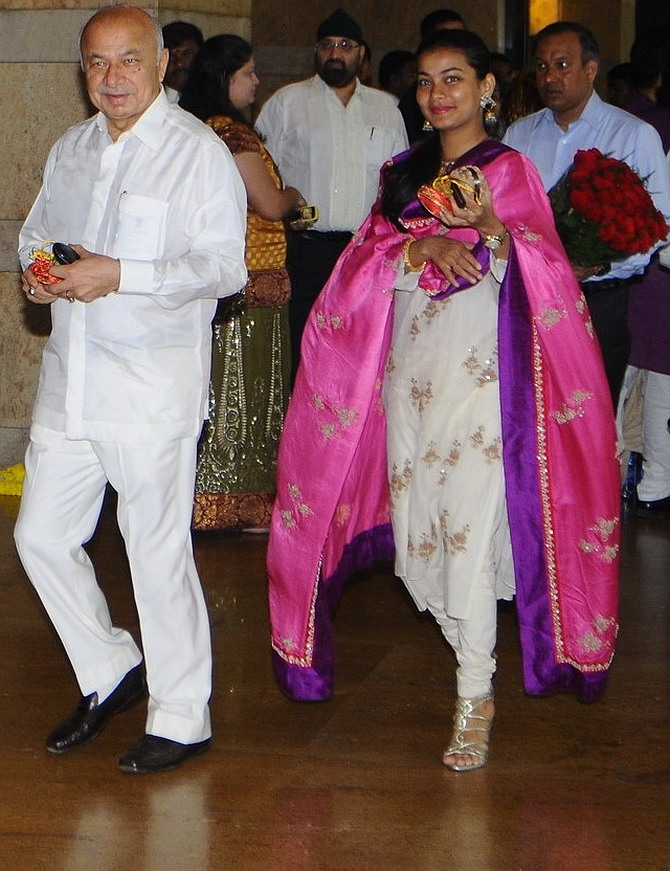 Union Home Minister Sushilkumar Shinde and his MLA daughter Praniti