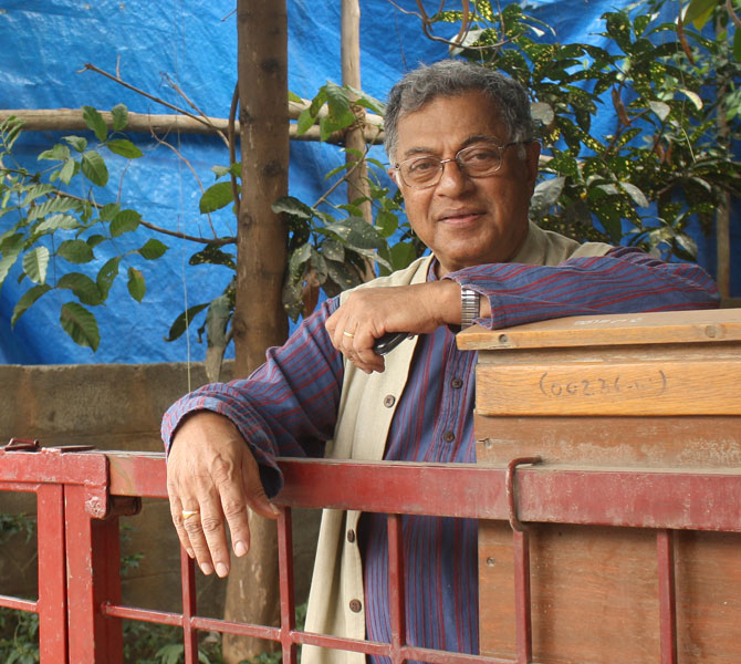 Playwright Girish Karnad at the gates of his home in Bengaluru.