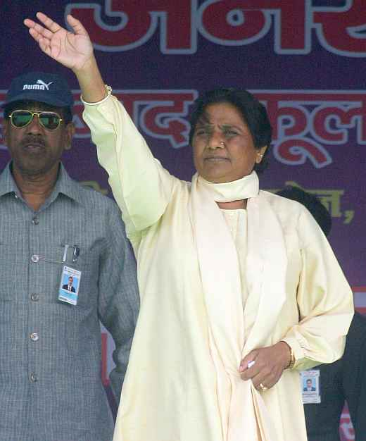 BSP chief Mayawati at a rally in Lucknow.