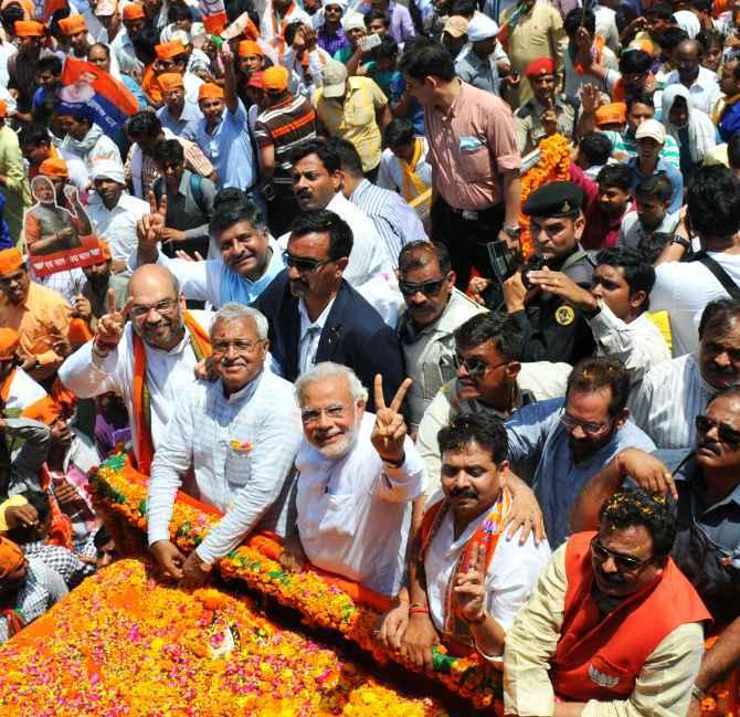 Narendra Modi during his Varanasi roadshow.