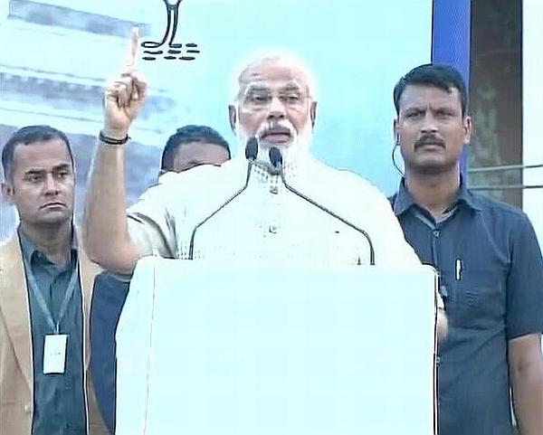 Narendra Modi, India's next prime minister, addresses his first rally in Vadodara