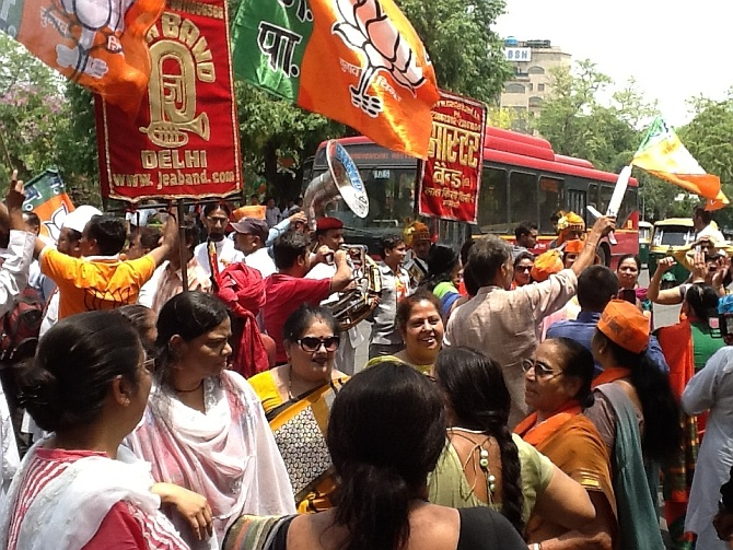 Joyous BJP supporters join the celebartions in New Delhi