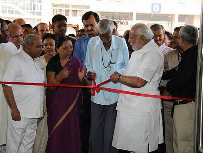 Anandiben with PM designate Narendra Modi at a function in Gujarat
