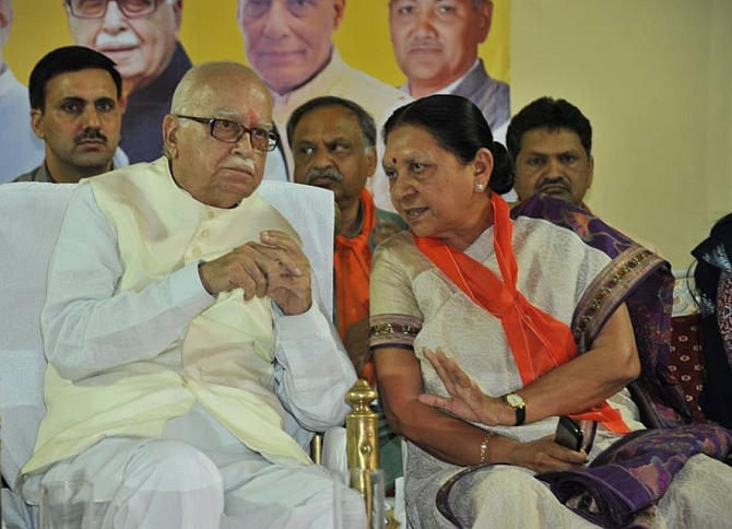 Anandiben with veteran BJP leader L K Advani