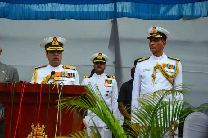 Chief of the Naval Staff Admiral R K Dhowan addresses the Western Naval Command in Mumbai