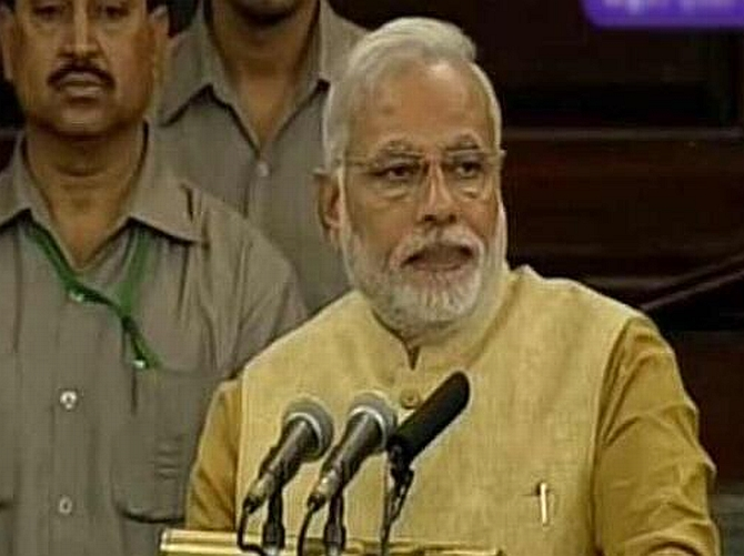 Modi delivers his first speech in Parliament