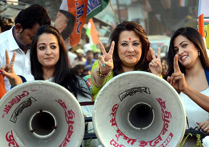 Moon Moon Sen campaigning in Bankura in West Bengal.