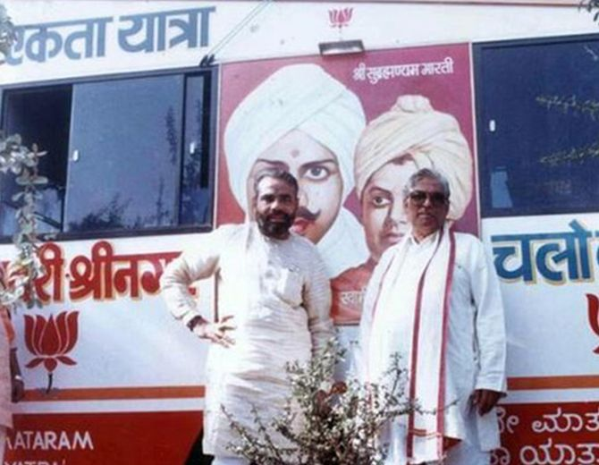 Modi with Murli Manohar Joshi during the Ekta yatra. Modi individually inspected the locations before the yatra.