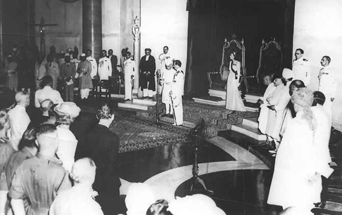 Jawaharlal Nehru being sworn in as India's first prime minister on August 15, 1947.