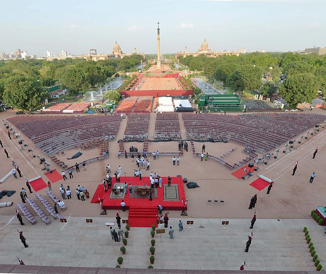 Preparations are in full swing on the fore-court of Rashtrapati Bhavan on the eve of the Swearing-in-Ceremony of prime minister designate Narendra Modi, in New Delhi on Sunday
