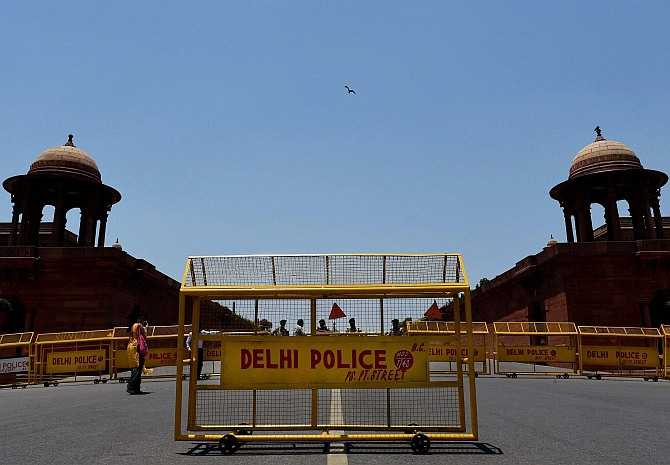 Security arrangements at Raisina Hill on the eve of the swearing-in ceremony of the new Prime Minister Narendra Modi in New Delhi