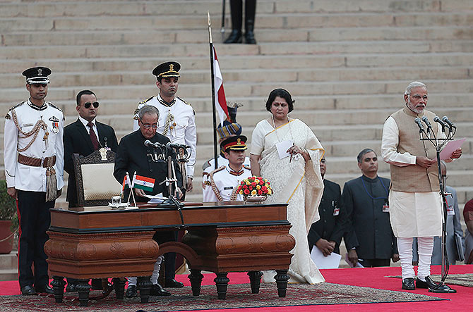 Narendra Modi is sworn in as prime minister.