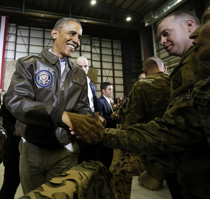 US President Barack Obama meets troops at Bagram Air Base in Kabul, May 2014.  Photograph: Jonathan Ernst/Reuters