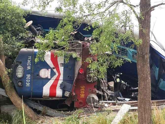 Overturned bogie of the goods train