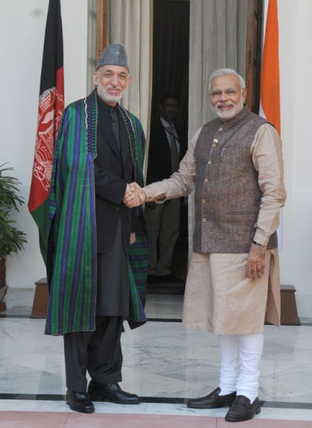Prime Minister Narendra Modi and Afghan President Hamid Karzai