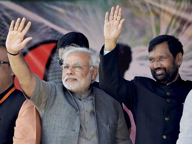 Modi with Lok Janshakti Party leader Ram Vilas Paswan, who is given charge of the ministries of consumer affairs, food and public distribution