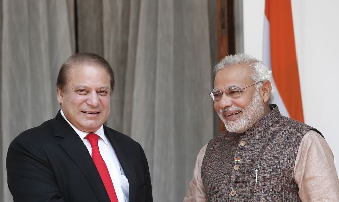 Prime Minister Narendra Modi and his Pakistani counterpart Nawaz Sharif ahead of the start of their bilateral meeting in New Delhi.