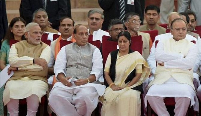 Prime Minister Narendra Modi with his top ministers at the swearing-in of the new government, May 16.