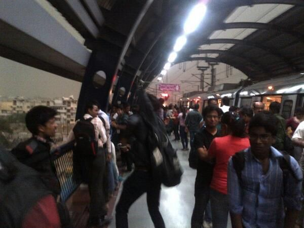 People waiting at Metro stations, as services were affected.