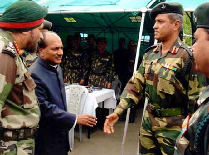 Colonel Vasanth with former defence minister A K Antony