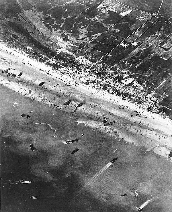 D-Day beach traffic, photographed from a Ninth Air Force bomber on June 6, 1944