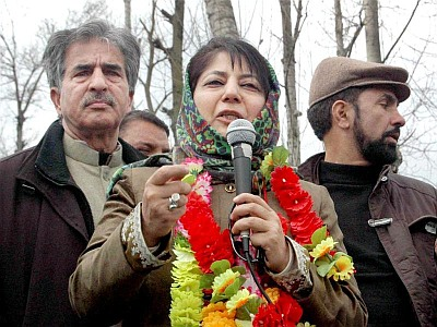 Mehbooba Mufti on the campaign trail